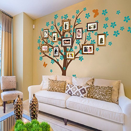 GECKOO Cherry Blossom Wall Mural Flower Decor Tree Decal Flora Vinyl Baby Nursery Vinyl (Large,Trunk- Brown,Flower- Teal,Butterfly- Light - International Time First Usps Shipping Class