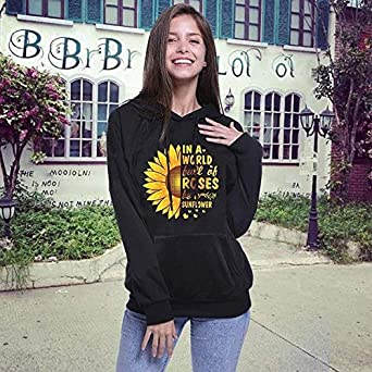 DAYPLAY Sweatshirts for Women Hoodie Pullover Autumn Ladies Long Sleeve Sunflower Loose Plus Size Blouse Sale