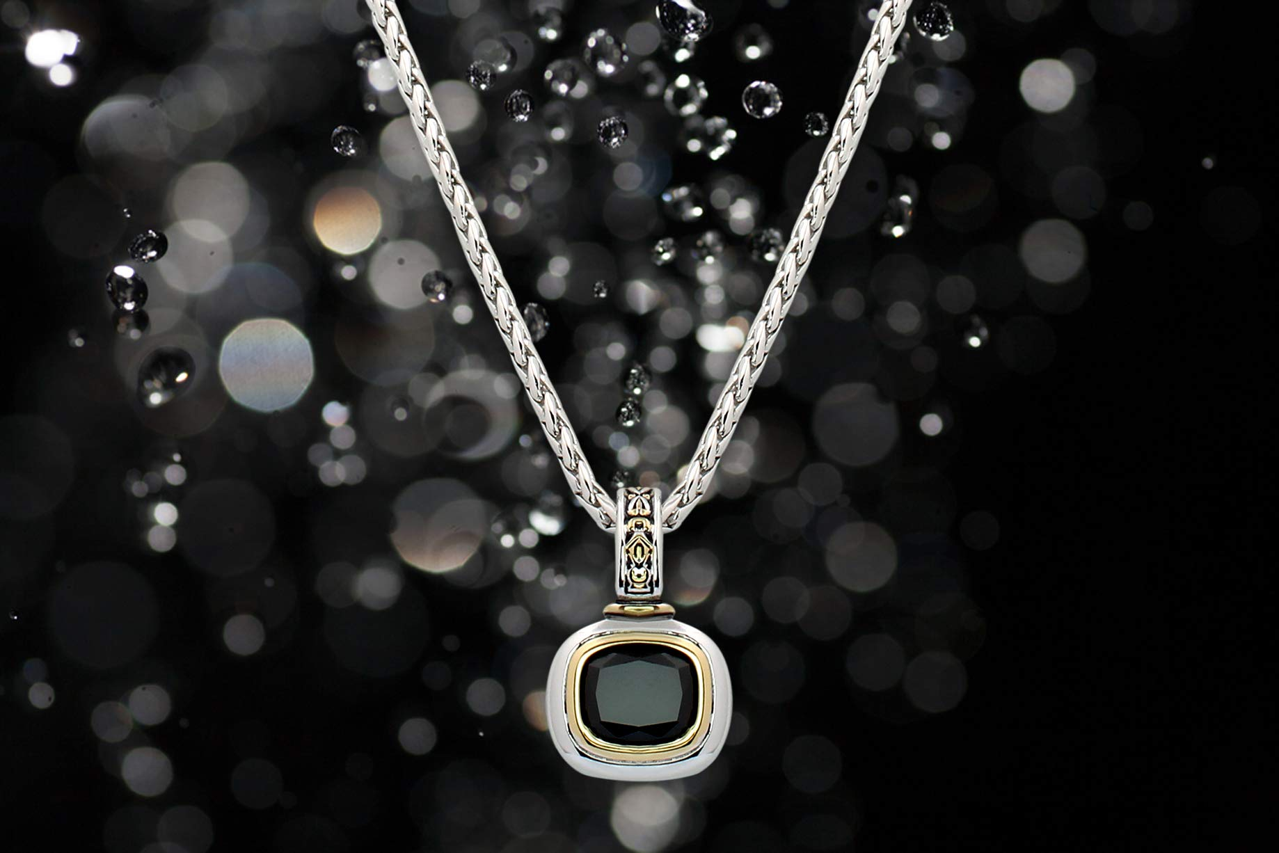 John Medeiros Black Cubic Zirconia Necklace 16'' ID Made in The USA by John Medeiros (Image #4)