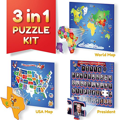 Kids Map Continents - Educational Puzzle Kit, World Map Puzzle, US Map and Presidents Puzzle. Thick Magnetic Pieces For kids