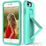 iPhone 8 Plus Case, iPhone 7 Plus Case, ZVE iPhone 7 Plus Stand Case Finger Strap Scratch Resistant Dual Layer Cover with Fold-able Kickstand for Apple iPhone 7 Plus/8 Plus 5.5'' Mint Green
