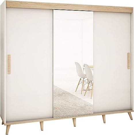 Mirjan24 Skandi T1 - Armario de puertas correderas con espejo frontal, cajón, armario de estilo escandinavo para dormitorio juvenil, salón o pasillo: Amazon.es: Juguetes y juegos