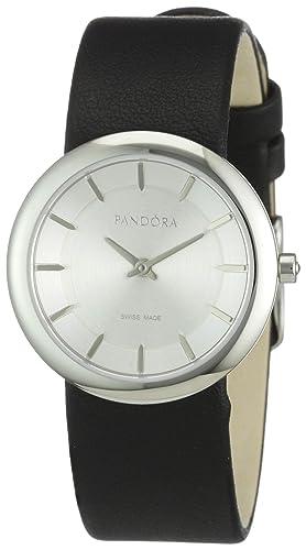 Pandora 811017WH - Reloj analógico de mujer de cuarzo con correa de piel negra: Amazon.es: Relojes