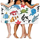 2018 pants Cartoon Ocean Animals Dolphin And Shark Whale Lobster And Crab Printing Swim Beach Towels