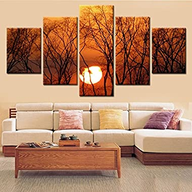 Frameless 5 Panel Beautiful Watery City Large Hd Picture Modern Home Wall Decor Canvas Print Painting for House Decorate