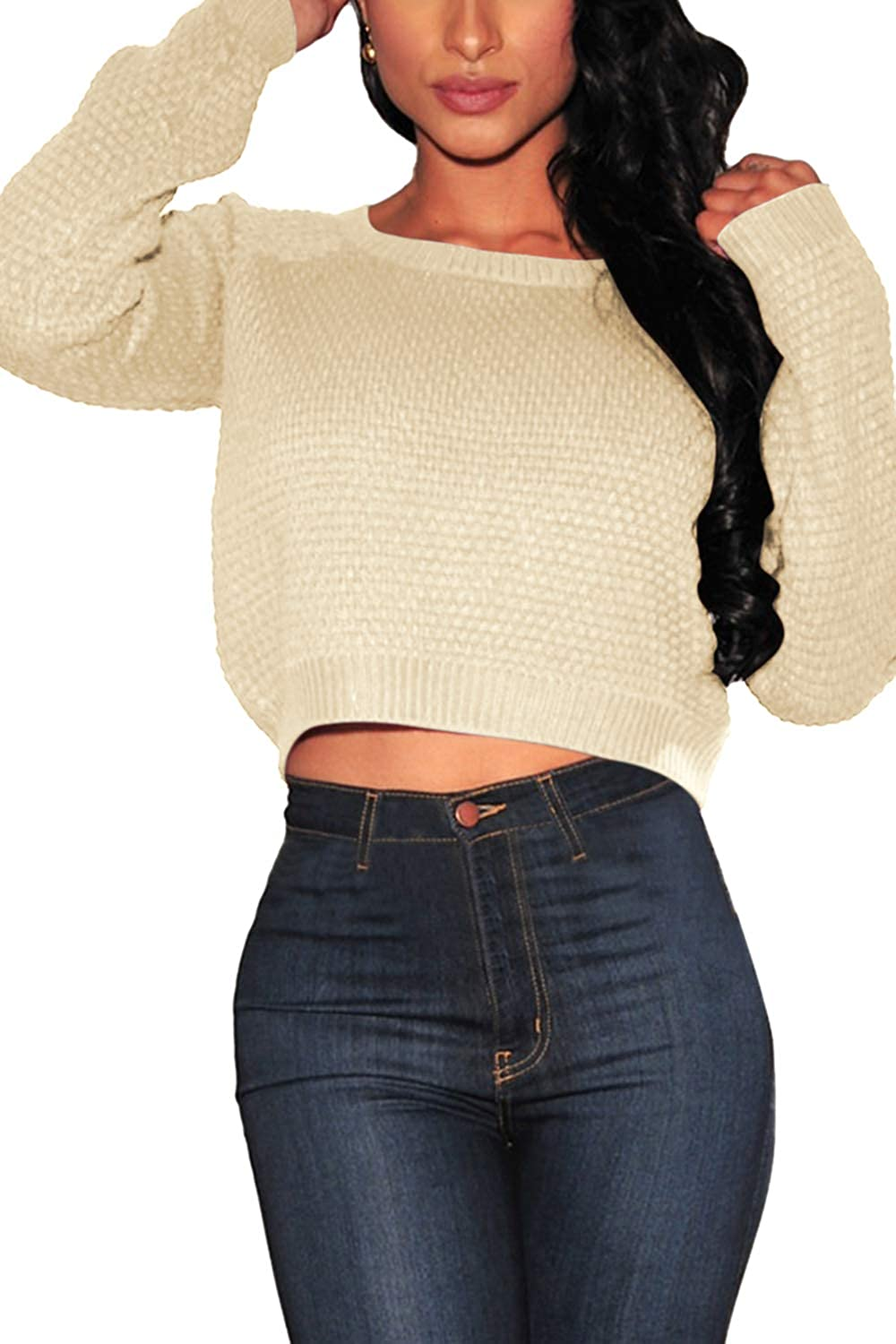 4596ddc7ced69 Pink Queen Women s Knit Long Sleeves Cropped Sweater Top at Amazon Women s  Clothing store