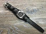 Chrome Heart, Leather watch band, watch strap, Full bund strap, Cuff Watch band, Black, 20mm, Cuff band, FREE SHIPPING