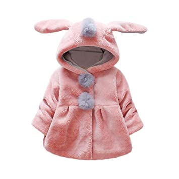 ae7574c54 Amazon.com  Cute Children Kids Girls Rabbit Ears Hooded Jacket Keep ...