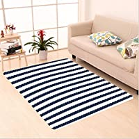 Nalahome Custom carpet y Nautical Rope in Horizontal Style Marine Army Sea Life Ocean Pacific Art Print Dark Blue White area rugs for Living Dining Room Bedroom Hallway Office Carpet (5 X 8)