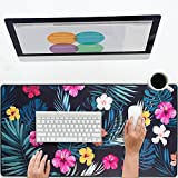 BRILA Large Mouse Pad - Oversized Desk Play Pad Extended Keyboard Mice Mat for Office Work & PC Gaming - Stitching Edges & Non Slip Rubber Back (31.5''x15.74''x0.12'') (Summer Tropical Floral Leaves)
