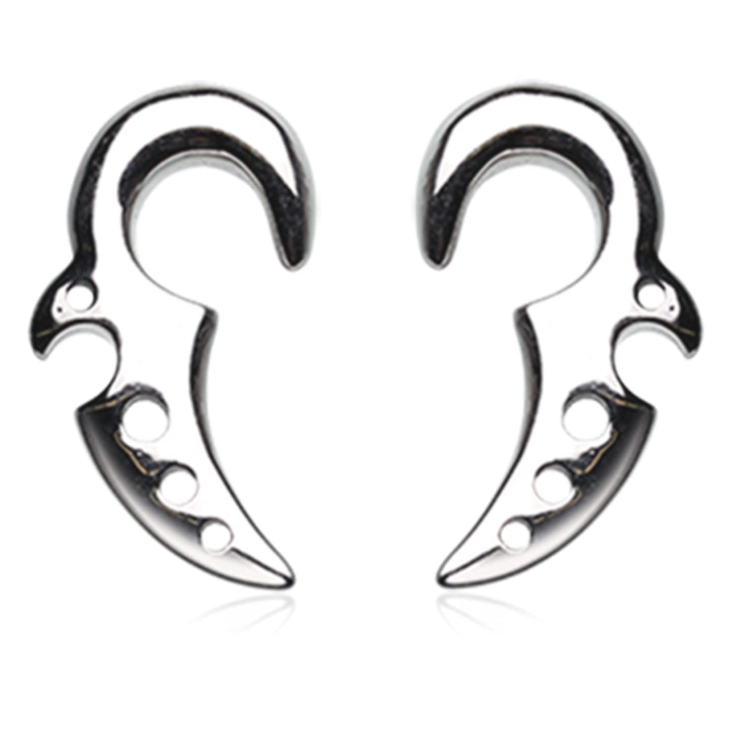 BYB Plugs Pair of Fang Hanger Stainless Steel Ear Stretching Tapers