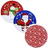 Christmas House Holiday Prints Round Tin Serving Trays Bundle Set Set of 3 10 inch