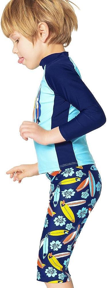 EZIX Boys Two Pieces Swimsuit Rash Guard Swimwear Trunk Short Set Beach Sport Bathing Suit for Kids