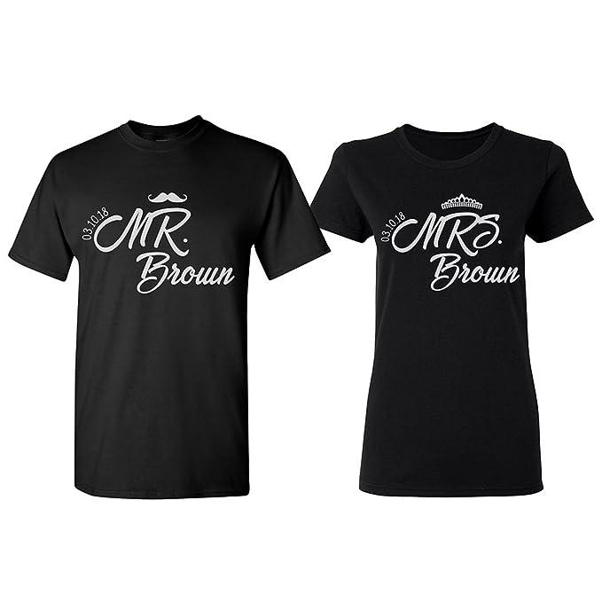 cb3a89df92 Personalized Couple T-Shirt Set Customized Wedding Honeymoon Shirts | PF#1  | Black
