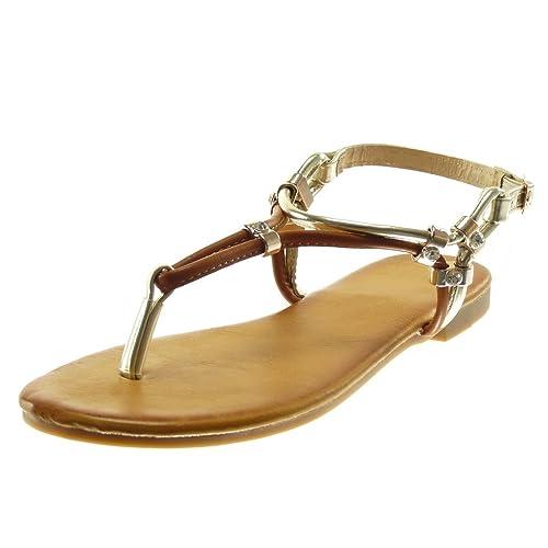 Femme Doré Angkorly Lanière Métallisé Tong Mode Salomés Sandale Talon 5 1 Strass Chaussure Cm Bloc Diamant Yf6v7Imbgy