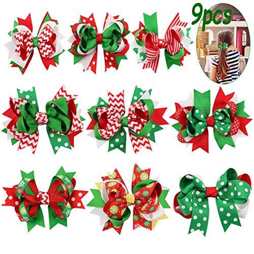 Christmas Hair Clips, Fascigirl 9pcs Grosgrain Hair Bows Hairpins Christmas Gifts for Girls Kids Party Accessories