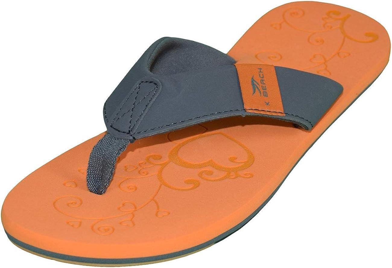 MADSea Damen Zehenstegpantolette Beach Woman Zehentrenner Sandale orange dunkelgrau