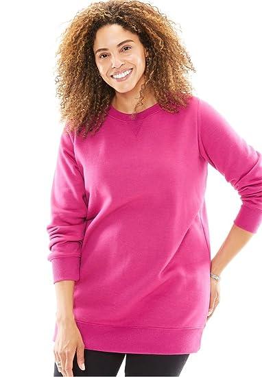 Women's Plus Size Soft Knit Better Fleece Sweatshirt Tunic In Solids And Prints