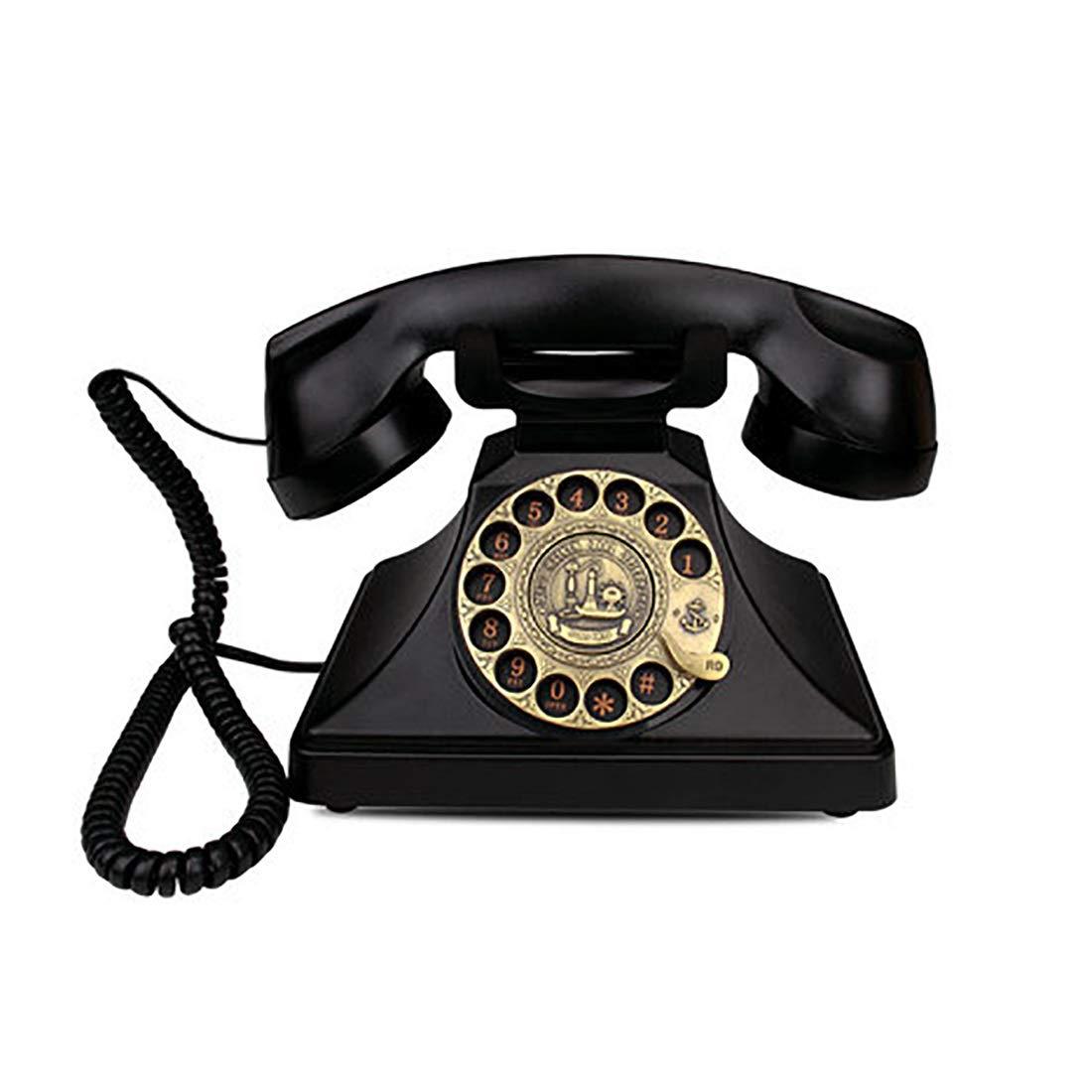 ZHILIAN European Retro Family Hotel Telephone Landline Fixed Telephone Decorative Telephone Rotary Dialing Free Portable Multi-Color Optional (Color : Black)