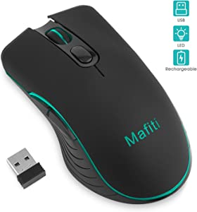 Mafiti Wireless Rechargeable Mouse USB Backlit RGB Cordless Mice for Notebook PC Laptop Computer Desktop