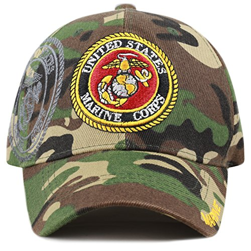 THE HAT DEPOT Official Licensed Military Cap with Logo (Marine-Woodland -