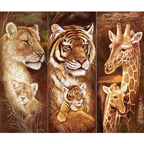 DIY 5D Diamond Painting Kit for Adults Full Round Drill dotz Kits Lion Tiger Giraffe Canvas Painting Size 50x60cm Cross Stitch Kits Christmas Gifts (X Diamond 50)