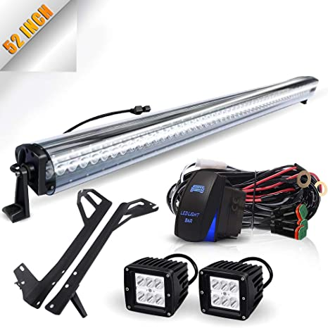 TURBOSII 52Inch Led Light Bar Offroad Lights + Wind Cover Noise Reducer on jeep tail light bracket, jeep tail light connectors, jeep tail light decal, jeep tail light cover, jeep tail light wiring plug, jeep tail light replacement bulb, jeep brake light switch harness, jeep tail light bulb socket, jeep oil pump, jeep turn signal switch,