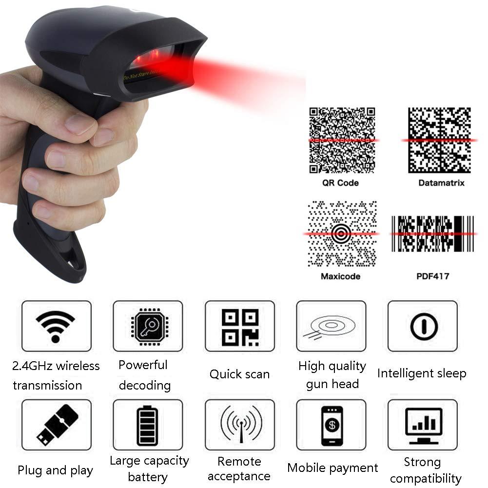 M3M Wireless Barcode Scanner 300M Trasmissione Distanza USB Cordless 1D Automatic Barcode Reader Maniglia USB Receiverfor, Negozio, Supermercato, Magazzino