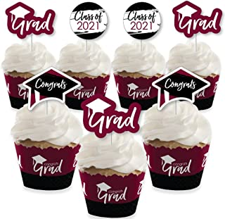 product image for Big Dot of Happiness Maroon Grad - Best is Yet to Come - Cupcake Decoration - 2021 Burgundy Graduation Party Cupcake Wrappers and Treat Picks Kit - Set of 24