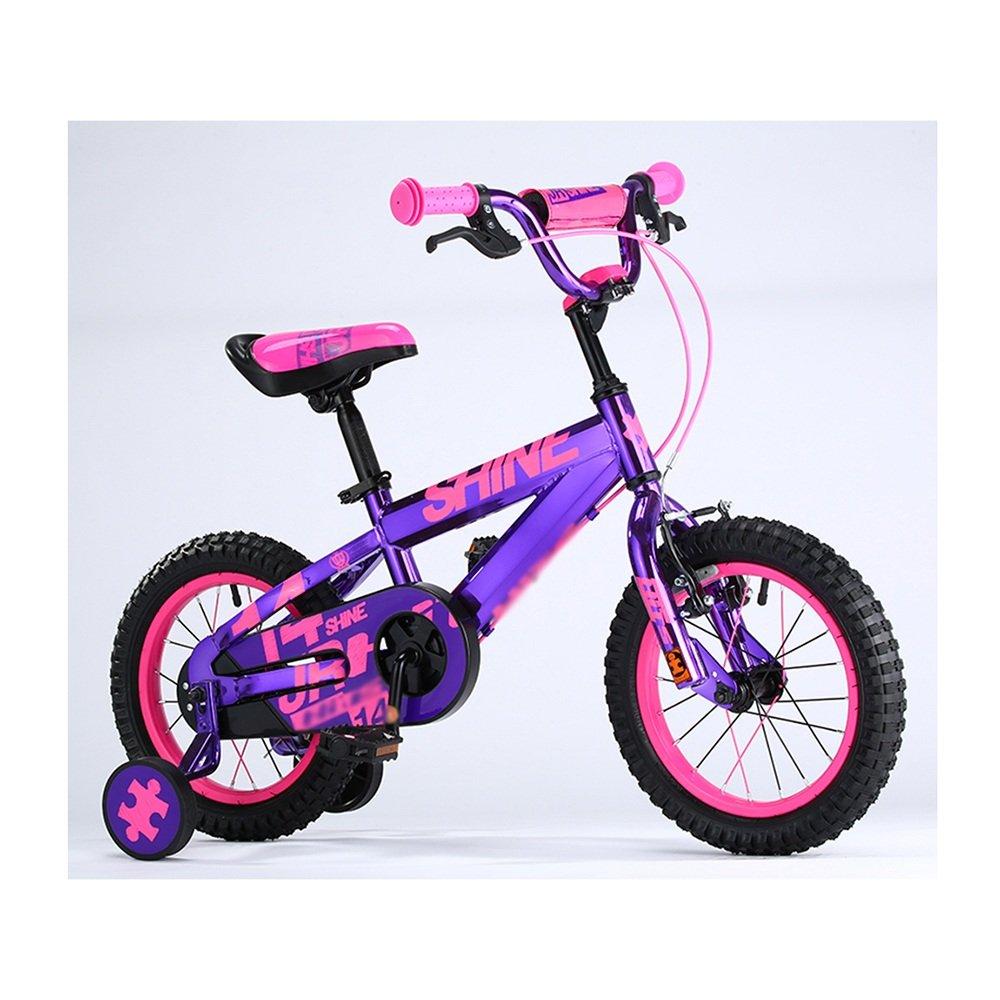 ZHIRONG 子供用自転車 トレーニングホイール付きの少年の自転車と少女の自転車 12インチ、14インチ、16インチ、18インチ アウトドアアウト ( 色 : パープル ぱ゜ぷる , サイズ さいず : 14 inch ) B07CRJ445M 14 inch|パープル ぱ゜ぷる パープル ぱ゜ぷる 14 inch