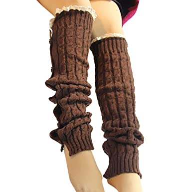 BHYDRY Botón de encaje de ganchillo para mujer Braid Leg Knit Warmer Boot Calcetines hasta la rodilla: Amazon.es: Ropa y accesorios
