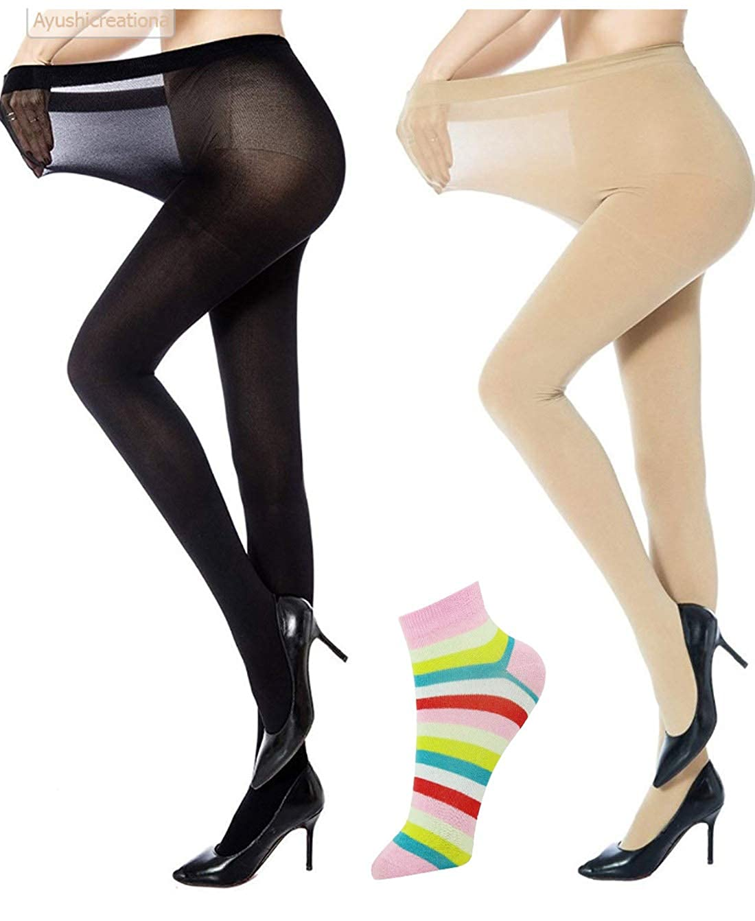 fedec5a6c ayushicreationa Women High Waist Stockings Super Fine Fiber Excellent  Stretch Tights Long Comfort Super Soft Pantyhose (Black and Beige