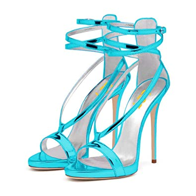 bb818a5cee FSJ Women Sexy Strappy Sandals for Wedding Open Toe Metallic High Heels  Pumps Shoes Size 4