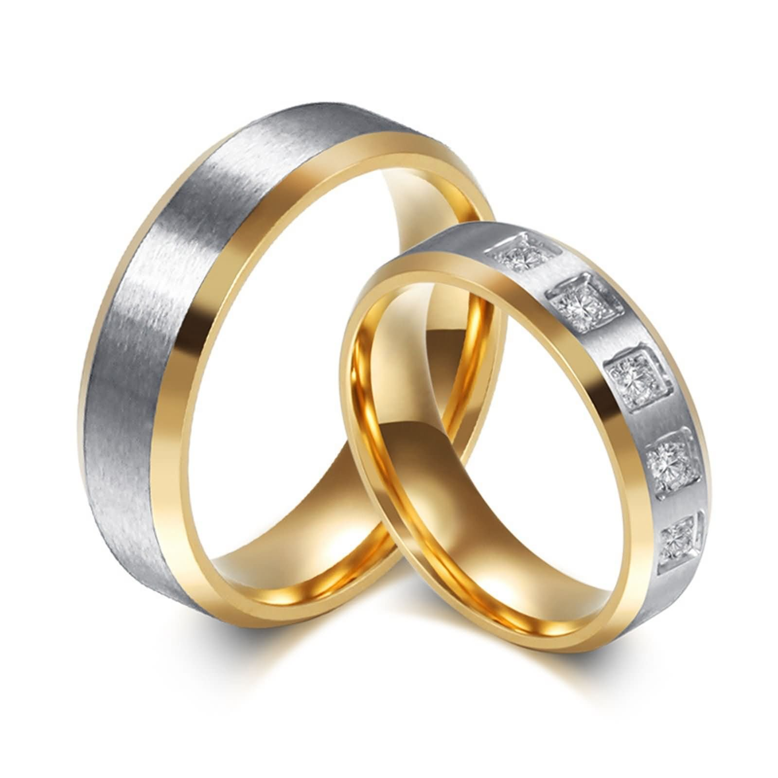 Rings for Wedding Set His and Her Gold Stainless Steel Ring Set for Women Brush CZ Size 5 & Men Size 12