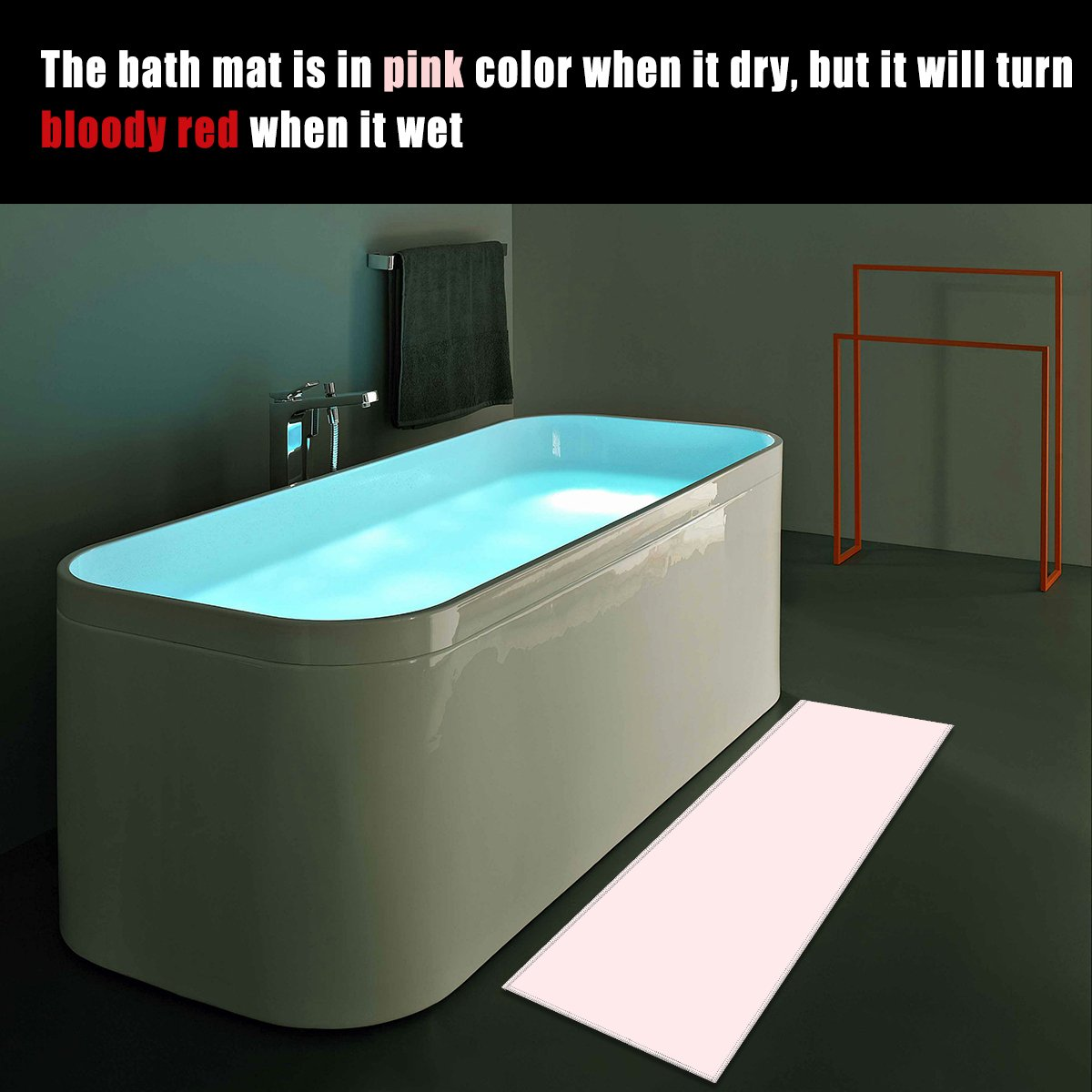 Amazon.com: Bloody Bath Mat - Color Changing Sheet Turns Red When ...