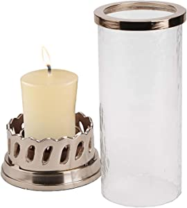 Mind Reader CPILC-CLR Pillar Rose Gold Base and Trim, Removable Glass Cylinder Hurricane Candle Holder, Home Décor, Clear