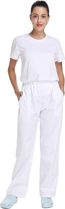WWOO Femme Pantalon de Travail Blanc Pur Pantalons m/édical Taille Elastique pour Coton Opaque