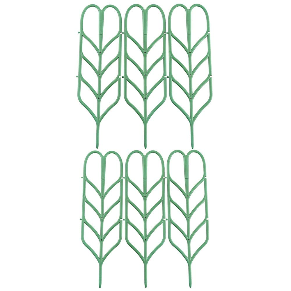 Povkeever Garden Plant Support, Y Plant Supports Trellis Leaf Shape for Potted Plant Winding Climbing DIY Garden Green 6Pcs