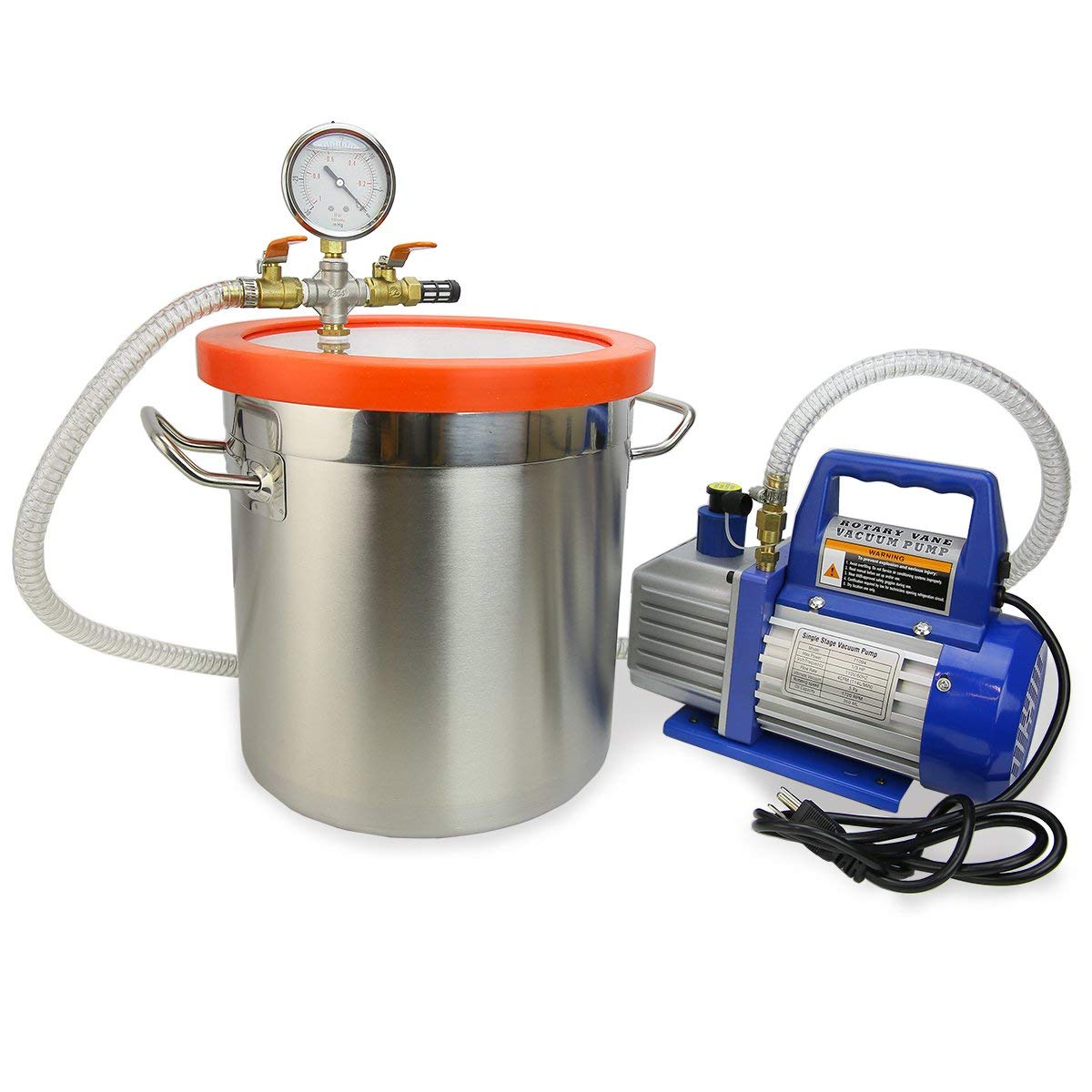XtremepowerUS 5 CFM Two-Stage Vacuum Pump 2 Gallons Chamber Kit Degass Urethanes, Silicones and Epoxies