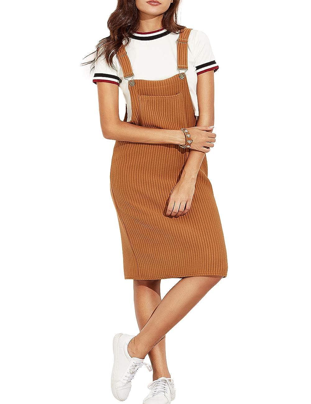 Innifer Women's Elastic Cotton Suspender Skirt Pinafore Bib Overall Dress
