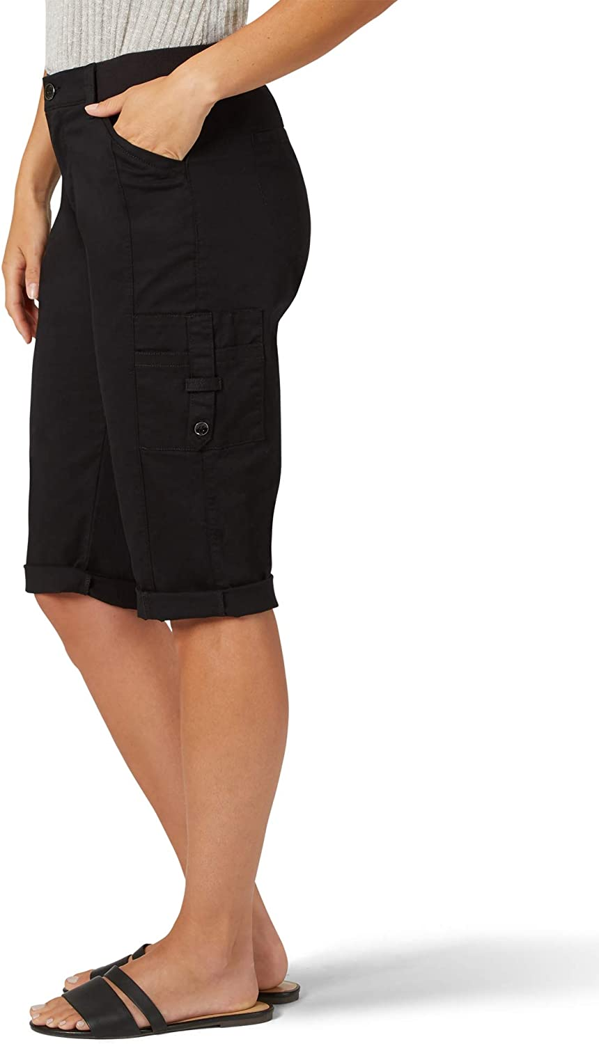 LEE Womens Petite Flex-to-go Relaxed Fit Cargo Skimmer Capri Pant
