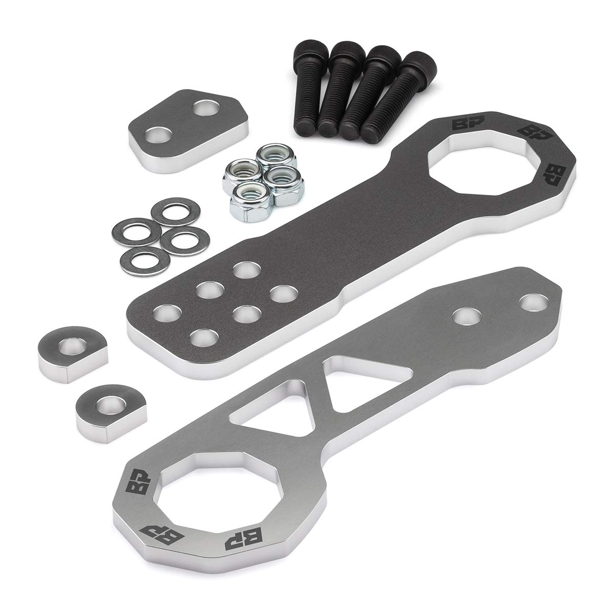 BlackPath - Fits Toyota + Nissan Front and Rear JDM Racing Style Tow Hook Set (Silver) T6 Billet by Black Path