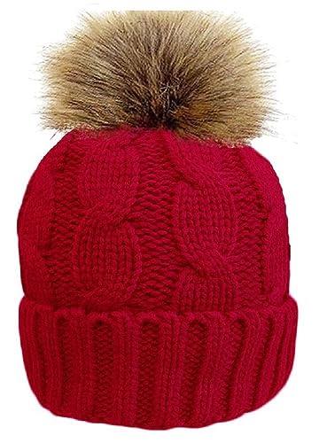 Ladies Rock Jock Cable Knit Sherpa Fodera Cappello Beanie Detachable Pom Pom HAI-619