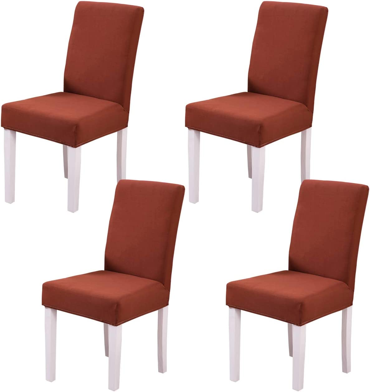 Ogrmar 4PCS Stretch Removable Washable Dining Room Chair Protector Slipcovers/Home Decor Dining Room Seat Cover (Coffee)