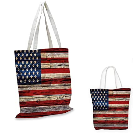 2ef812b019f4 4th of July small clear shopping bag Wooden Planks Painted as United States  Flag Patriotic Country