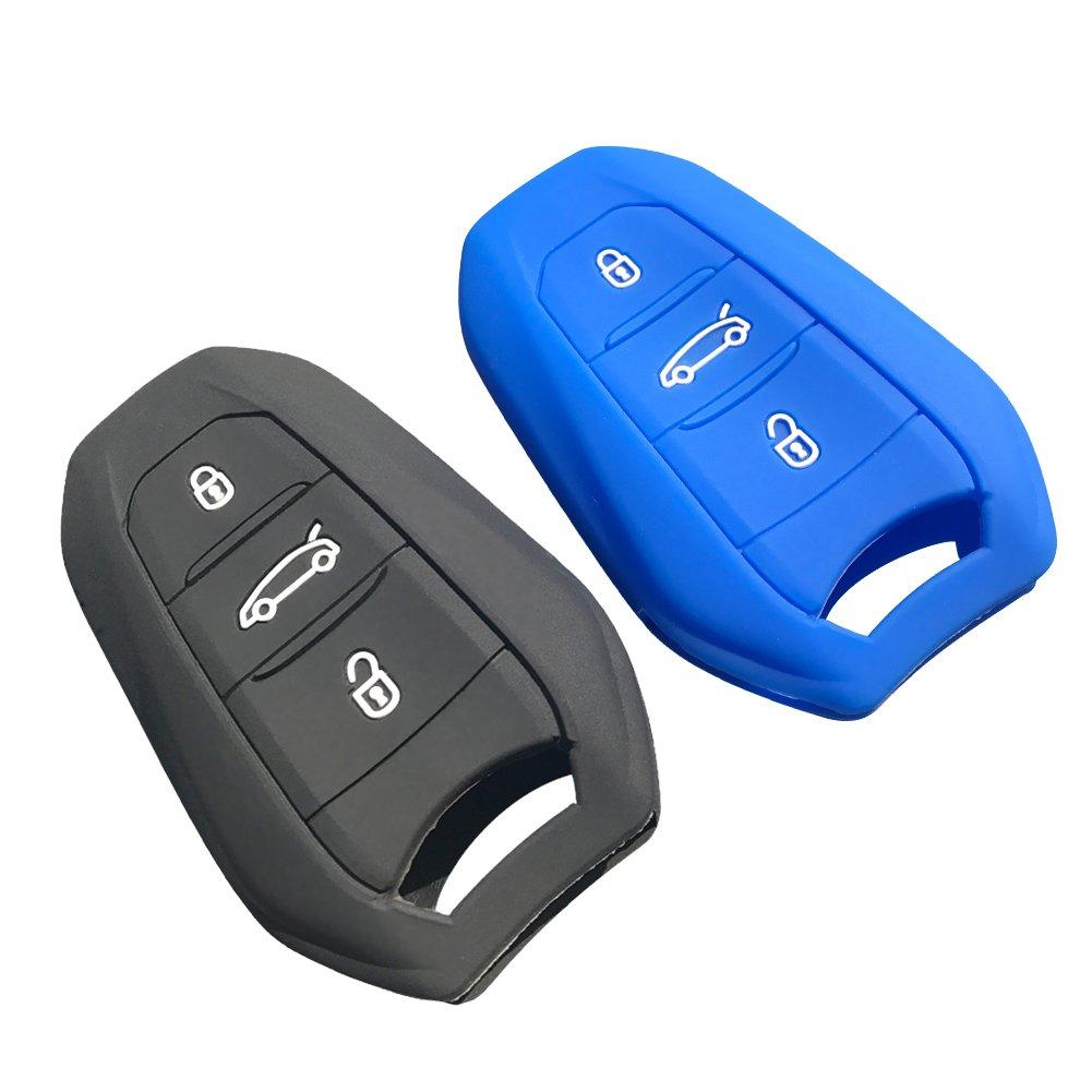 Negro LFOTPP 3 Botones Funda de Silicona para Llaves para 3008 5008 GT Gel de s/ílice Cubierta Protectora Remoto Llavero Shell