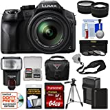 Panasonic Lumix DMC-FZ300 4K Wi-Fi Digital Camera with 64GB Card + Battery & Charger + Case + Tripod + Flash + Tele/Wide Lens Kit
