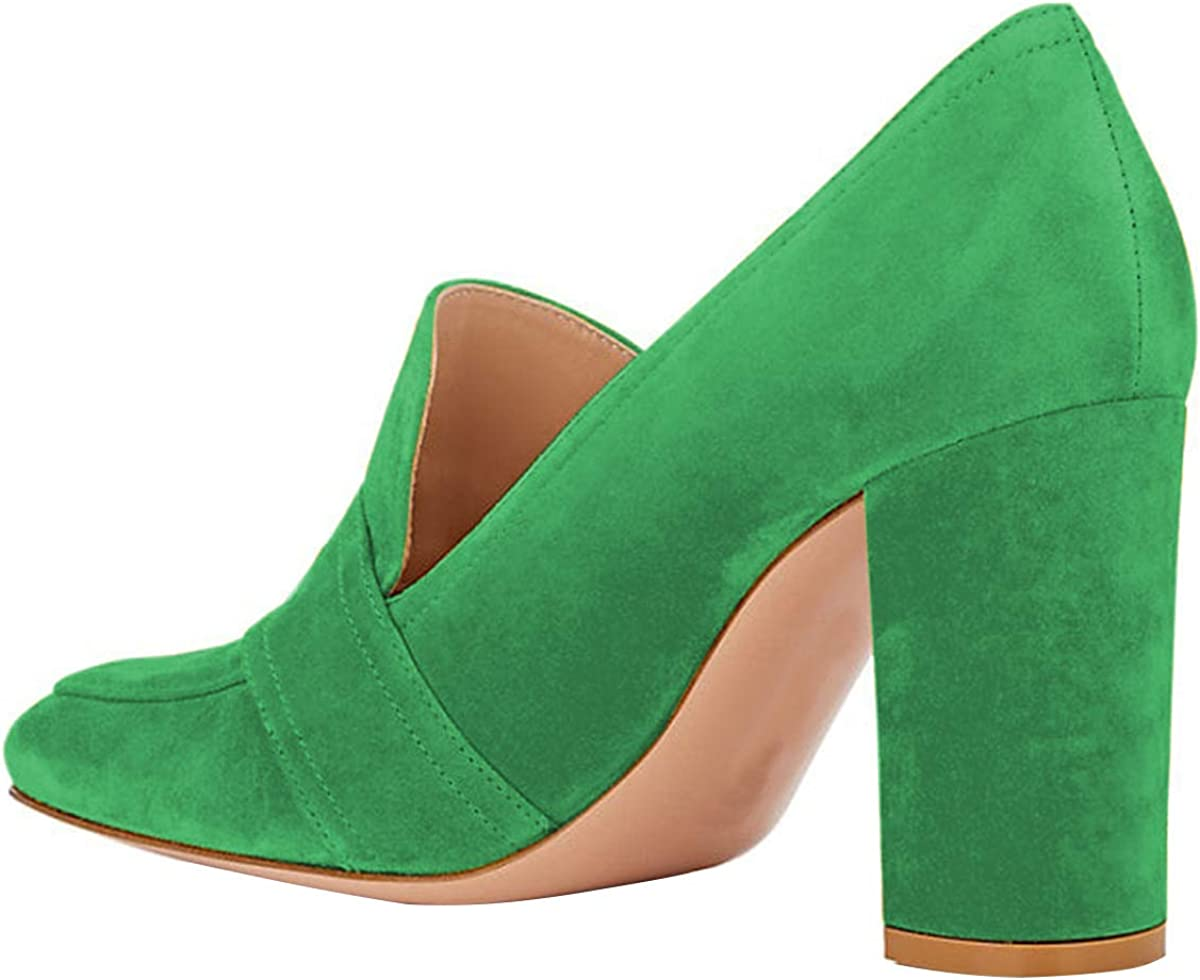 YDN Women Chunky High Heel Square Toe Loafer Shoes Slip On Suede Office Pumps with Buckle