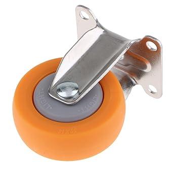 Homyl Ruedas fijas de 2 pulgadas, rueda de nailon resistente con placa superior, rueda