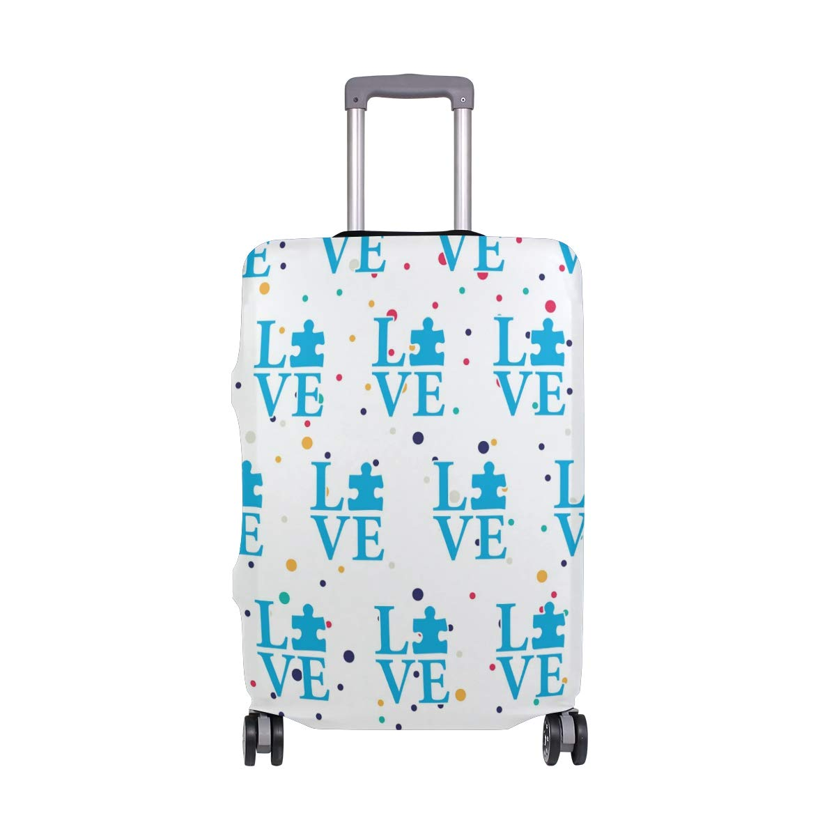 Love Autism Puzzle Travel Luggage Cover - Suitcase Protector HLive Spandex Dust Proof Covers with Zipper, Fits 18-32 inch